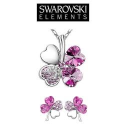 Parure bijoux trefle cristal rose