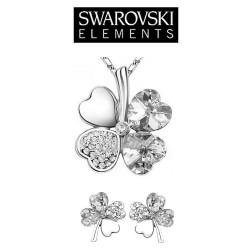 Parure bijoux trefle cristaux transparents