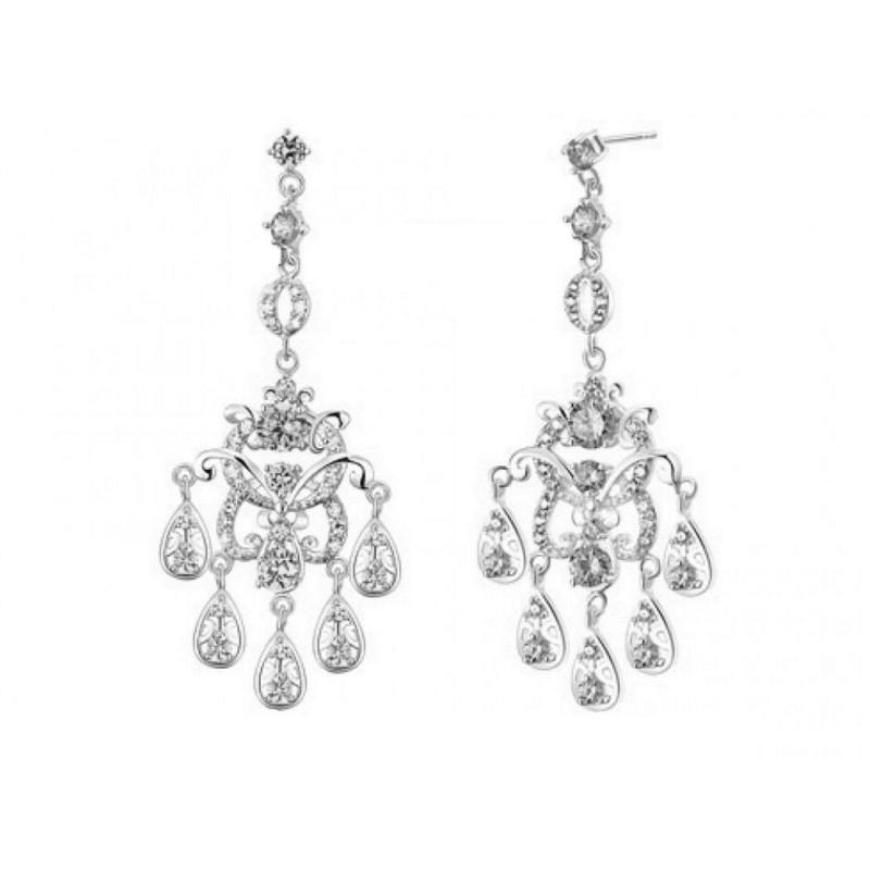 Boucles d'oreilles chandelier cristal rose