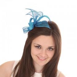 Chapeau mariage Accessoire coiffure en sisal bleu turquoise