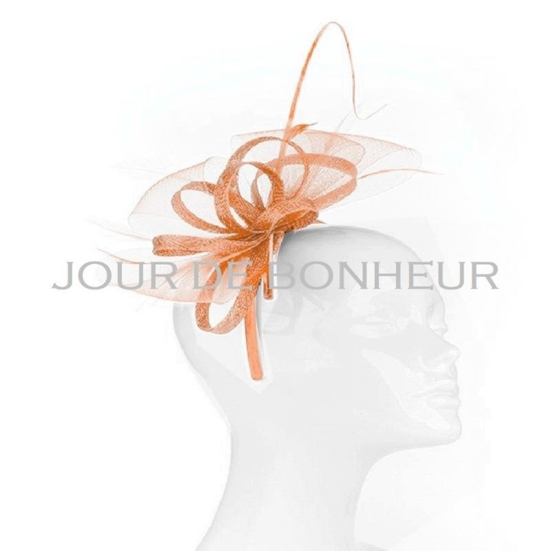 Chapeau mariage Bibi headband noeud tulle et plumes orange abricot