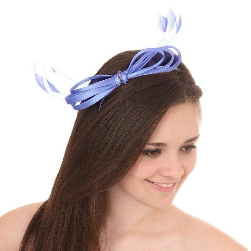 Chapeau mariage Accessoire coiffure noeud satin strass bleu ciel