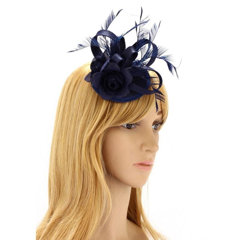 Chapeau mariage Bibi cheveux bleu marine et plumes