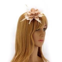 Chapeau mariage Bibi cheveux nude et plumes