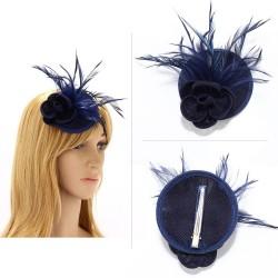Chapeau mariage Bibi cheveux fleur et plumes bleu marine