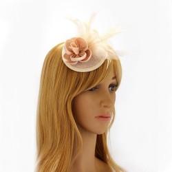 Chapeau mariage Bibi cheveux fleur et plumes nude