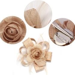 Chapeau mariage Bibi cheveux noeud fleur et plumes nude
