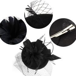 Chapeau mariage Bibi cérémonie fleur et plumes noir
