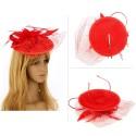 Chapeau mariage Bibi cérémonie fleur et plumes rouge