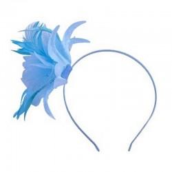 Chapeau mariage Headband avec fleur et plumes bleu ciel