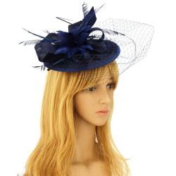Chapeau mariage Bibi cérémonie fleur et plumes bleu marine