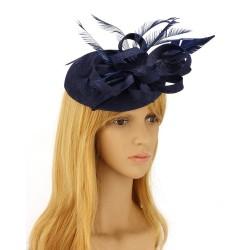 Chapeau mariage Chapeau mariage fleur et plumes bleu marine