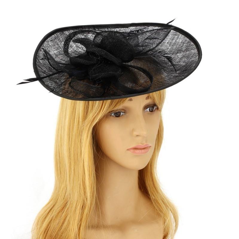 Chapeau mariage Bibi large en sisal et plumes noir
