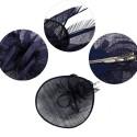 Bibi large en sisal et plumes bleu marine