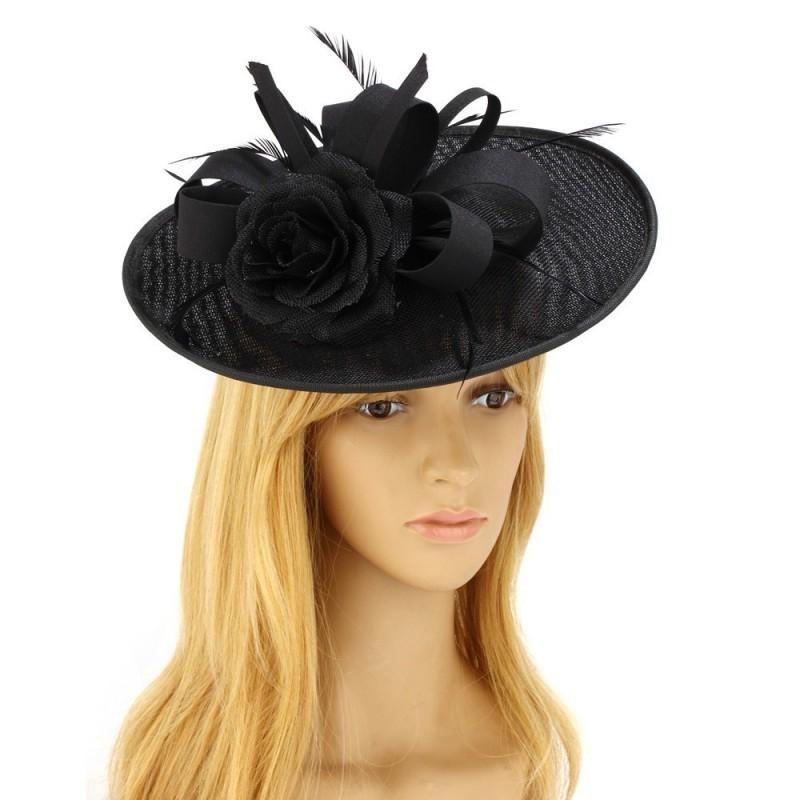 Chapeau mariage fleur et plumes noir