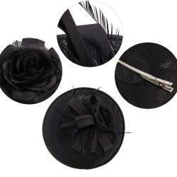 Chapeau mariage Chapeau mariage fleur et plumes noir