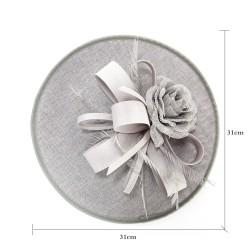 Chapeau mariage Chapeau mariage fleur et plumes gris