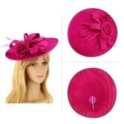 Chapeau mariage Chapeau mariage fleur et plumes rose fuchsia violet