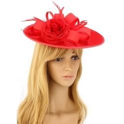 Chapeau mariage Chapeau mariage fleur et plumes rouge