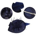 Chapeau mariage Accessoire coiffure bibi bleu marine et plumes