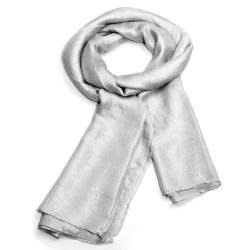Echarpe soyeuse unie gris clair