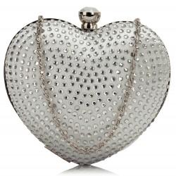 Sac du soir coeur en cristal argent