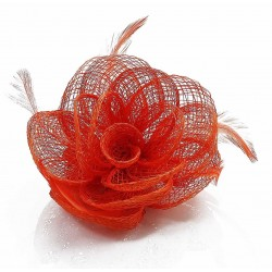 Chapeau mariage Bibi fleur cheveux orange corail