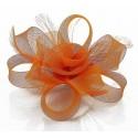 Chapeau mariage Fleur cheveux en tulle orange