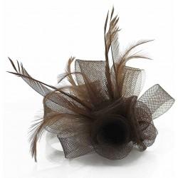 Chapeau mariage Bibi 3 fleurs tulle et plumes marron