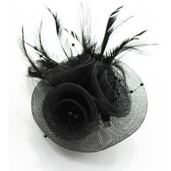 Chapeau mariage Bibi mariage plumes et perles noires
