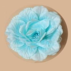 Fleur bleu ciel turquoise sur pince cheveux