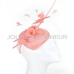 Chapeau mariage Bibi de cérémonie fleurs et plumes rose peche