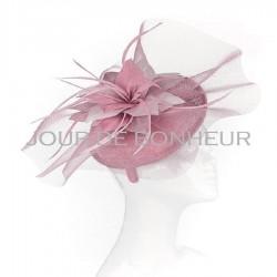 Chapeau mariage Bibi de mariage voilette et fleur rose mauve