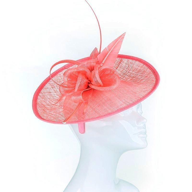 Chapeau mariage Chapeau de mariage fleur et plumes rose orange corail