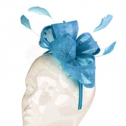 Chapeau mariage Bibi mariage noeud perles et plumes bleu