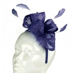 Chapeau mariage Bibi mariage noeud perles et plumes bleu marine