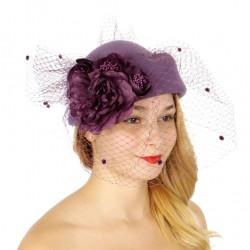 Chapeau mariage Chapeau feutre violet et voilette