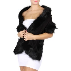 Foulard Etole bordée fourrure noire
