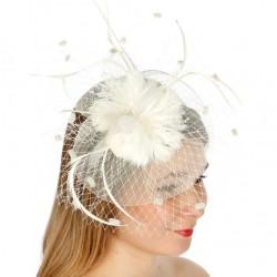 Chapeau mariage Bibi fleur et voilette ivoire