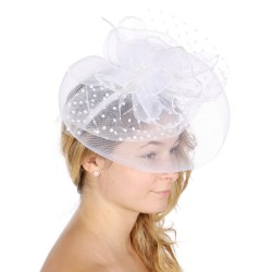Chapeau mariage Bibi de cérémonie blanc