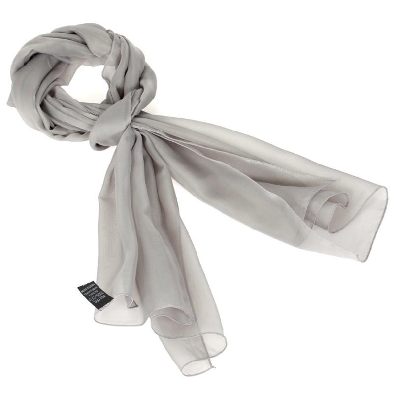 Foulard Etole foulard touché soie gris argent