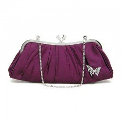 Sac pochette satin violet pourpre et papillon cristal