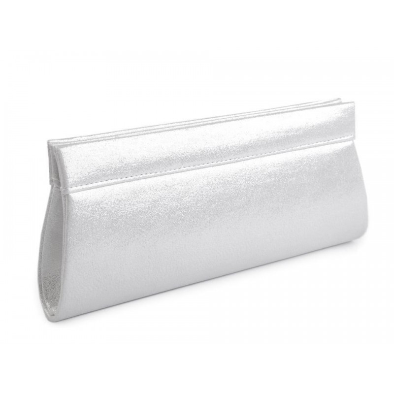 Sac pochette satin métallisé blanc