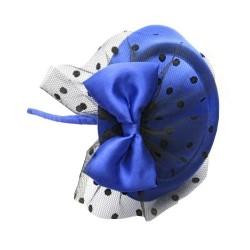 Chapeau mariage Bibi de mariage bleu voilette et noeud