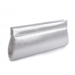 Sac pochette satin métallisé gris argent