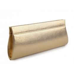 Sac pochette satin métallisé doré