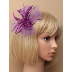 Headband ruban perles plumes violet