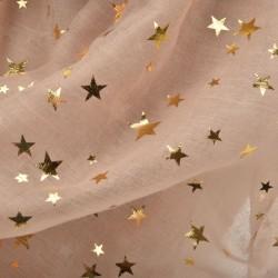 Echarpe légère étoiles beige nude