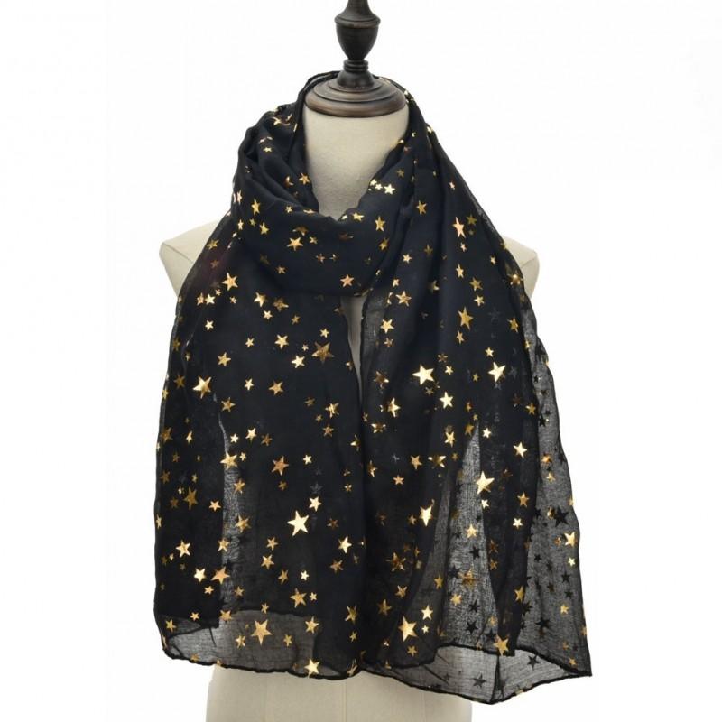 Echarpe légère étoiles noire