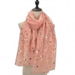 Echarpe légère étoiles rose